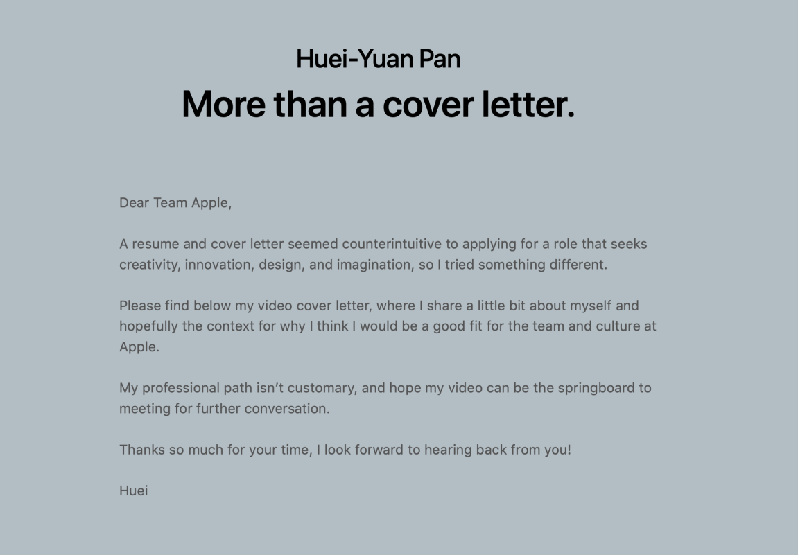 Apple More than a Cover Letter